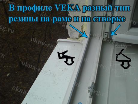 Уплотнитель VEKA на раме и в створке